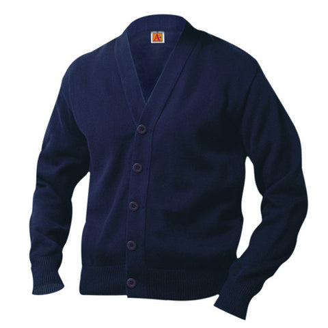 100% Cotton V-Neck Cardigan Sweater Navy Blue, ,- superuniforms.com