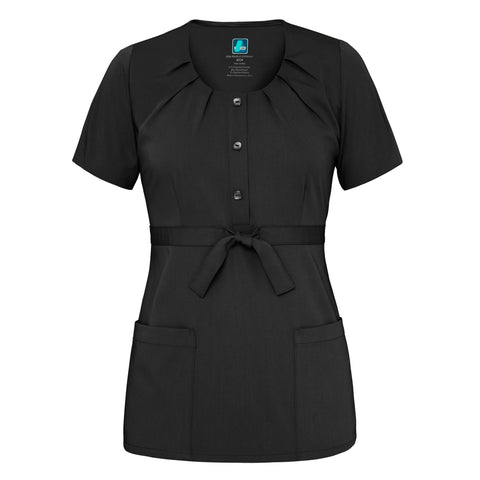 Adar Indulgenc Jr. Fit Scoop Neck Pleated Top, Medical Uniform Tops,- superuniforms.com