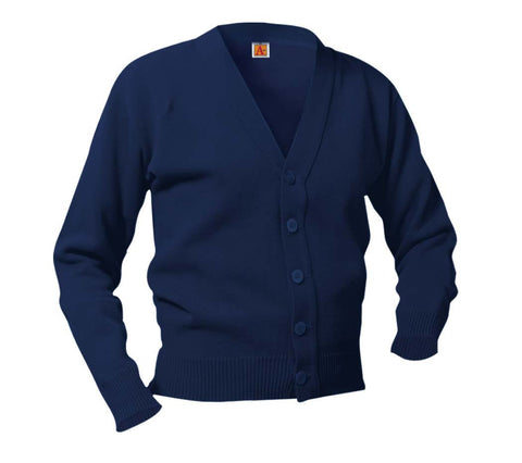 V-neck cardigan, no pockets Color: Navy