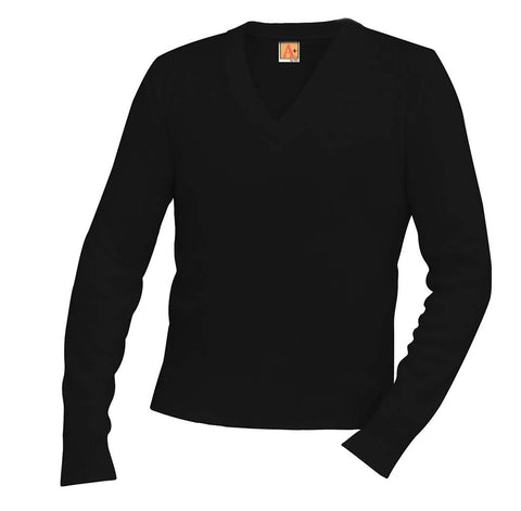 Classic V-Neck Long Sleeve Pullover, Sweaters,- superuniforms.com