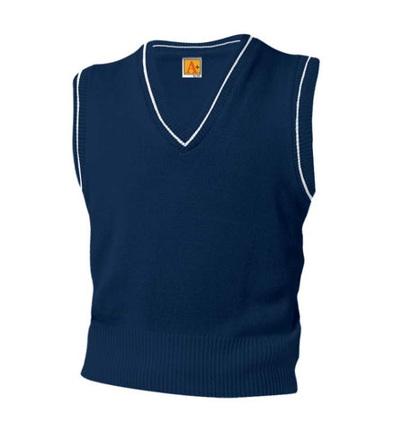 Varsity Pullover Sweater Vest Navy with White Trim