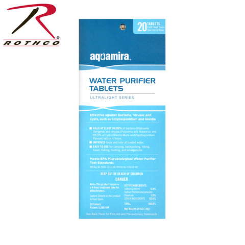 Aquamira Water Purification Tablets 20 Pack, Water Purification,- superuniforms.com