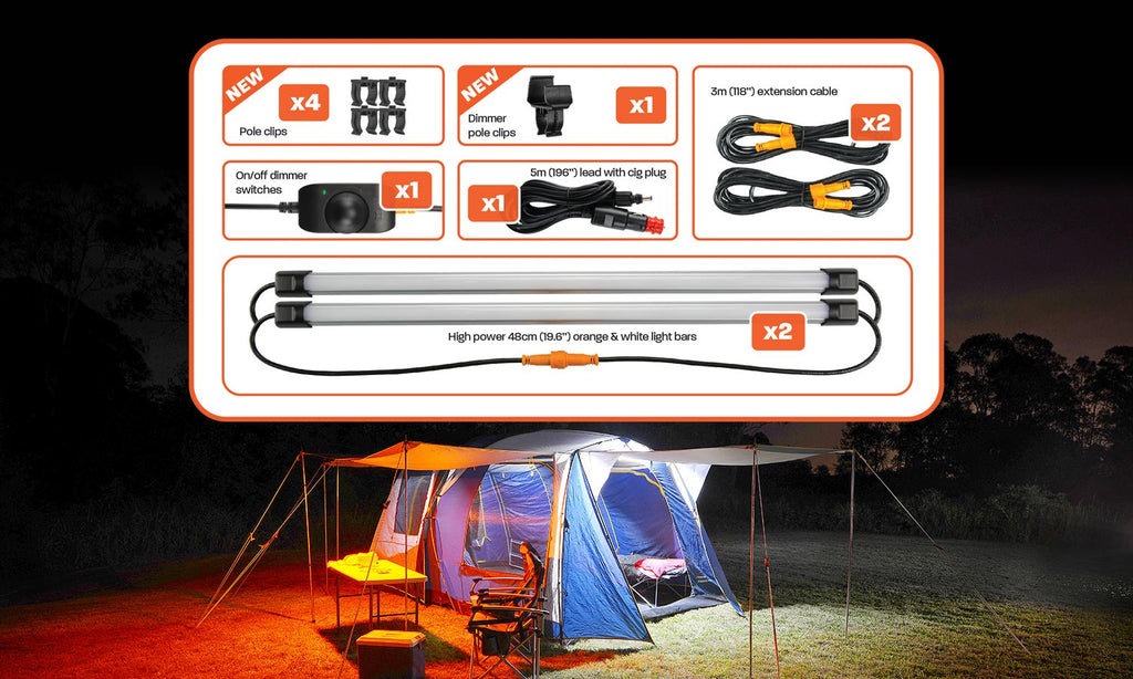Hard Korr 19″ 2 BAR ORANGE/WHITE LED CAMPING LIGHT KIT WITH DIFFUSERS