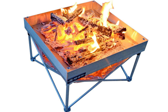 Fireside Outdoor Pop-Up Fire Pit & Heat Shield Combo
