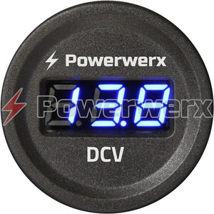 Powerwerx Panel Mount Digital Blue Volt meter for 12/24V Systems