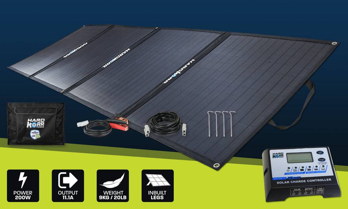 Hard Korr 200W Heavy Duty Portable Solar Panels with Crockskin® Cell Armour