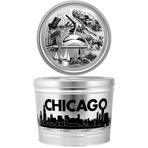 Chicago Iconic Theme - 2 Gallon Popcorn Tin