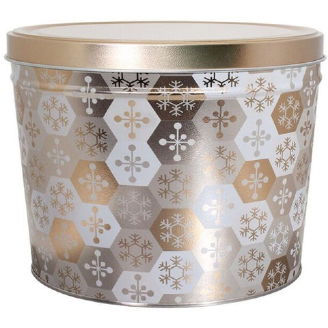 Shining Snowflakes - 2 Gallon Popcorn Tin