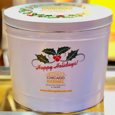 Happy Holidays Chicago Kernel Signature - 2 Gallon Popcorn Tin - Gourmet Popcorn