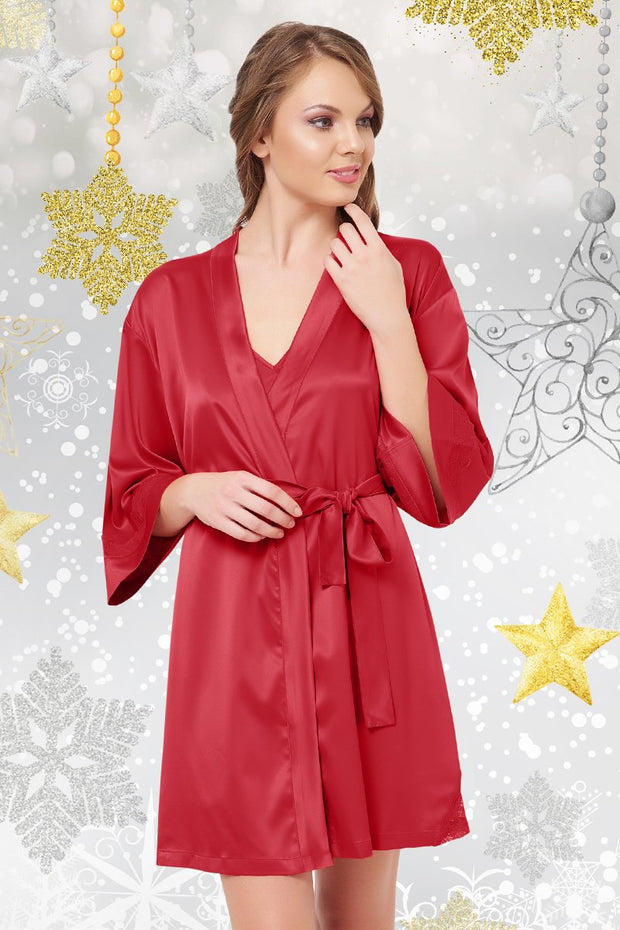 Festeve Satin Robe - Haute Red Color
