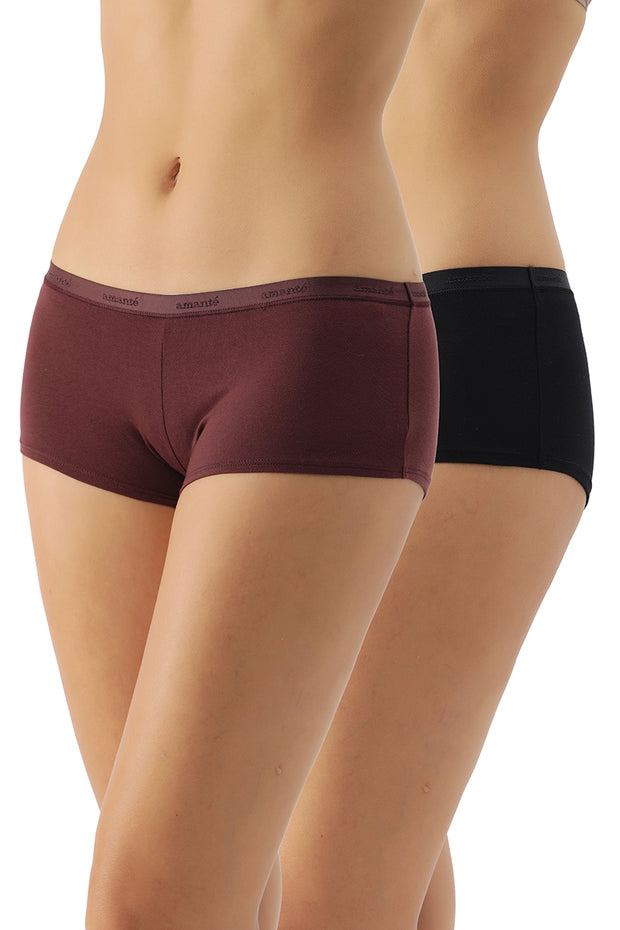 Low Rise Solid Boyshorts (Pack of 2)