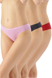 Solid Low Rise Bikini (Pack of 3) - AssortedColor