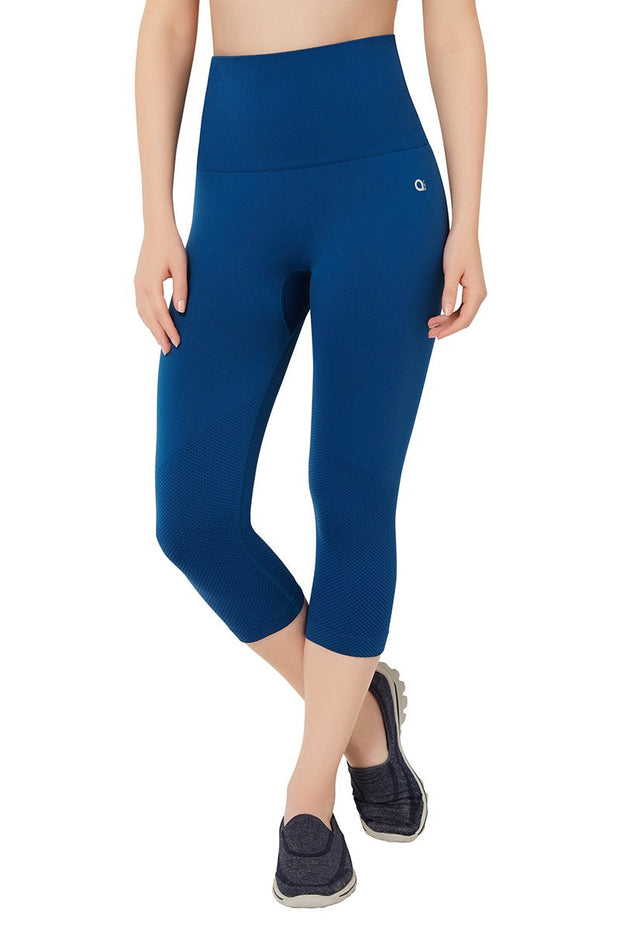 High Rise Sports Capri Pants - Poseidon Color