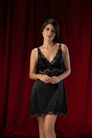 Eternal Romance Satin Lace Babydoll - Black Color