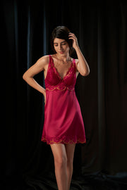 Eternal Romance Satin Lace Babydoll - Persian Red Color