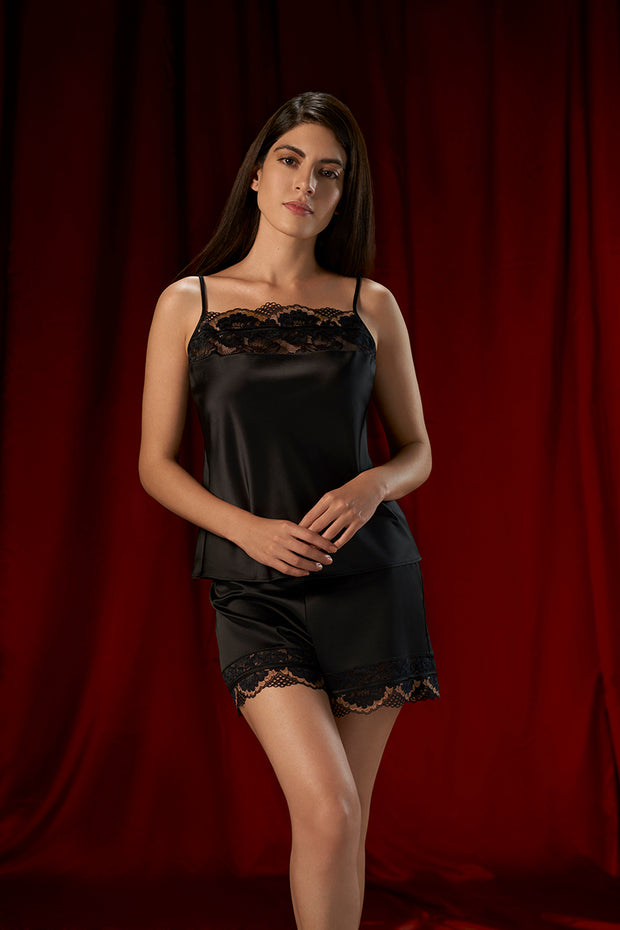 Eternal Romance Sleep Lace Shorts - Black Color