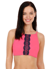 Side Ruched Swim Crop Top - Fandango Pink Color