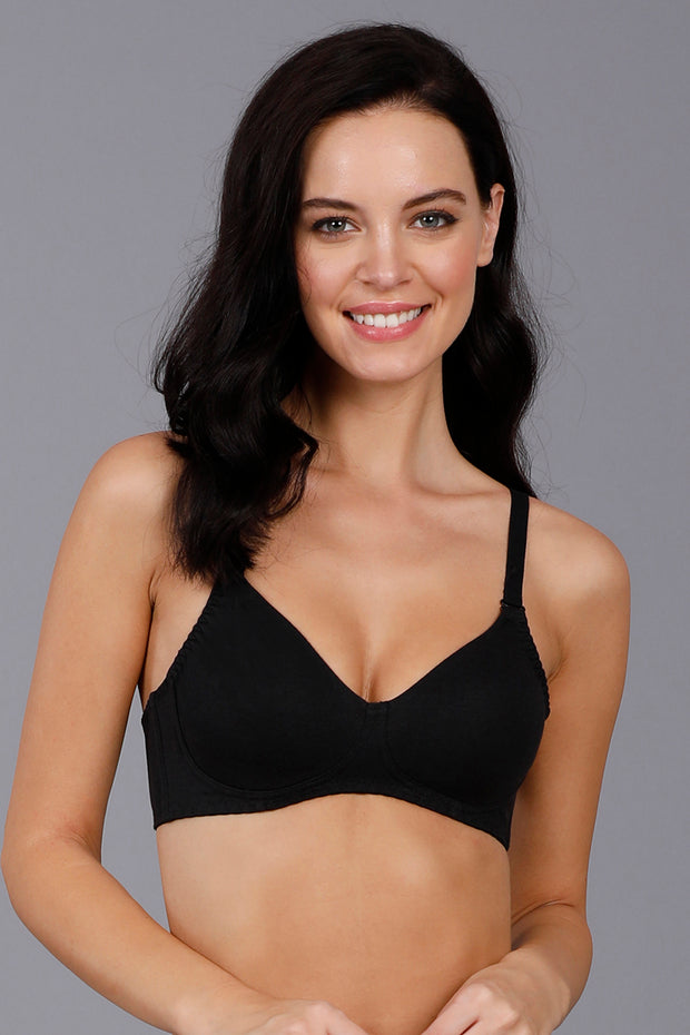 Fresh Aloe Finish Non-Wired Bra - Black Color