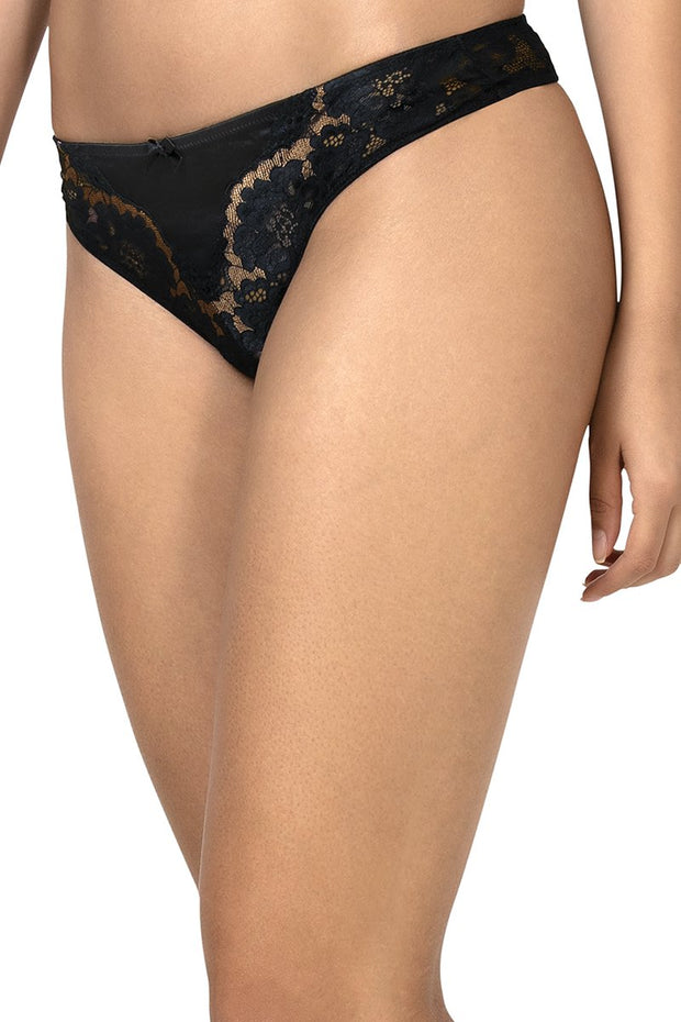 Eternal Romance Lace Thong Black