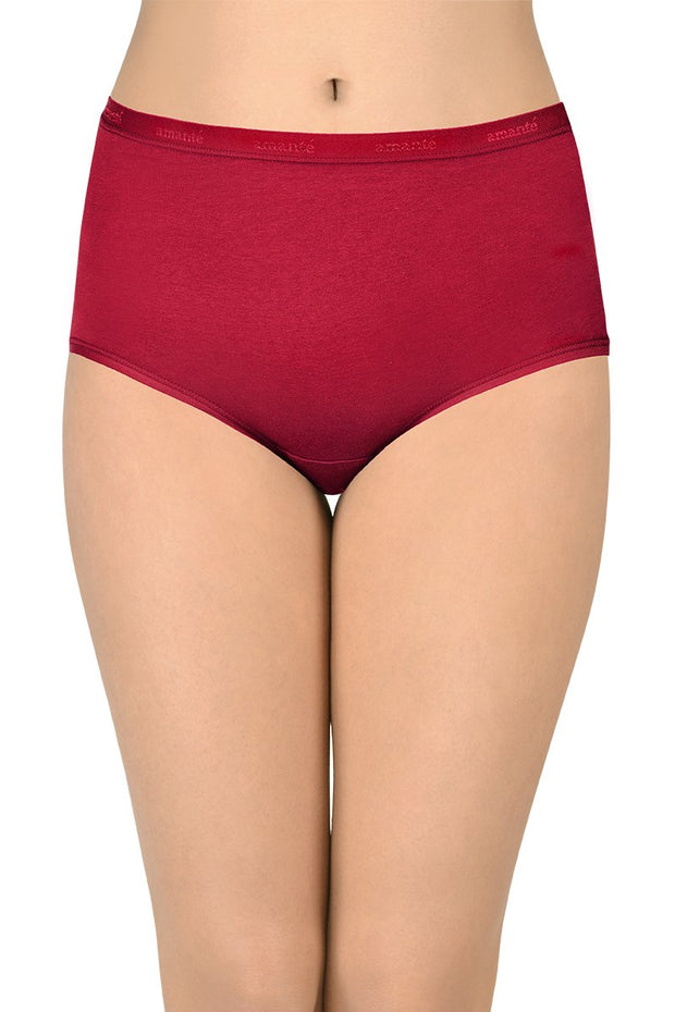 Solid Full Brief High Rise Panty (Pack of 3)