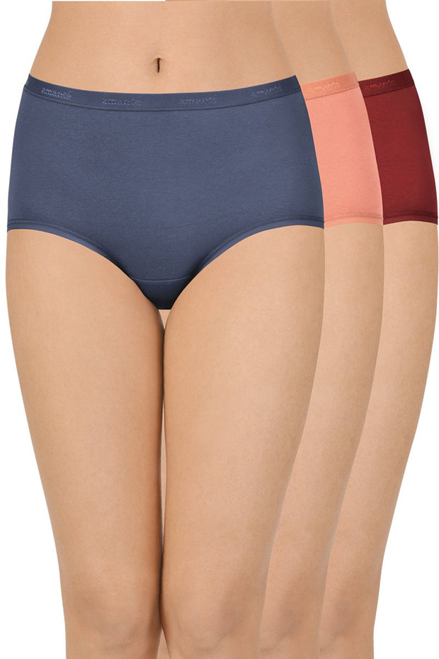 Solid High Rise Full Brief Panty (Pack of 3)