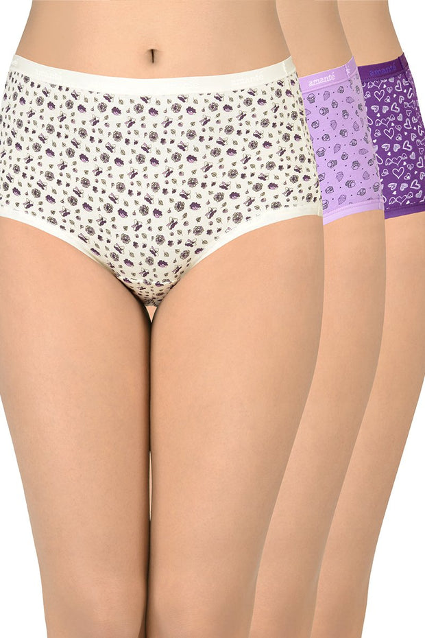 Printed High Rise Full Brief (Pack of 3)