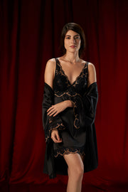 Eternal Romance Satin Lace Robe - Black Color