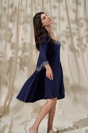 Lace Touch Sleep Robe - Midnight Color
