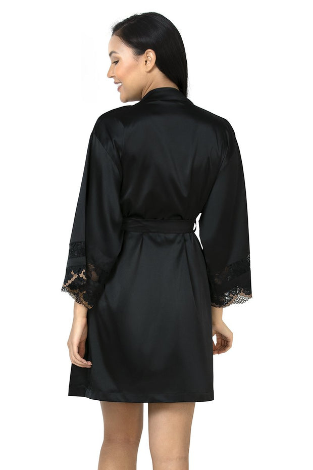 Eternal Romance Satin Lace Robe Black