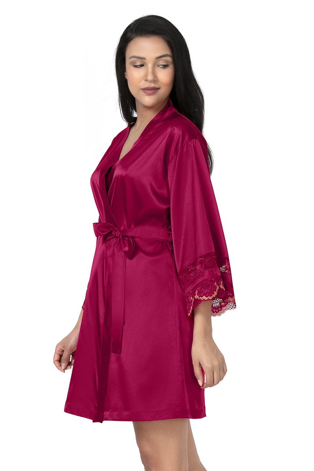 Eternal Romance Satin Lace Robe Persian Red