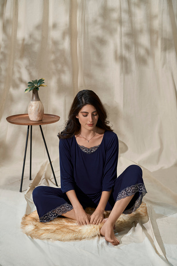Lace Touch Sleep Top - Midnight Color
