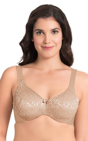 Ultimo Perfect Profile Non-Padded Wired Minimizer Bra - Lace Sandalwood Color