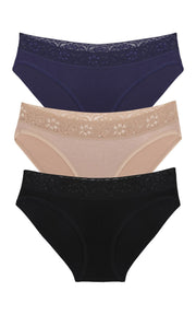 Ultimo Bikini with Lace Trim panty Pack (Pack of 3) - Inky Blue-Sandalwood-BlackColor