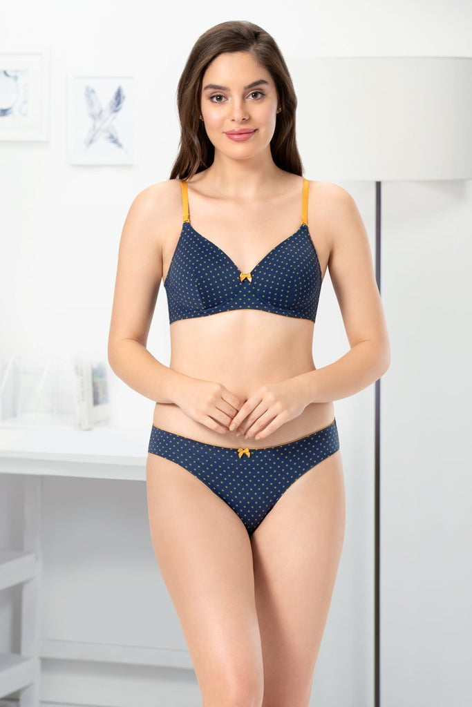 MIDNGHT_INCA BLUE PR | delicate-dots-blue-printed-t-shirt-bra