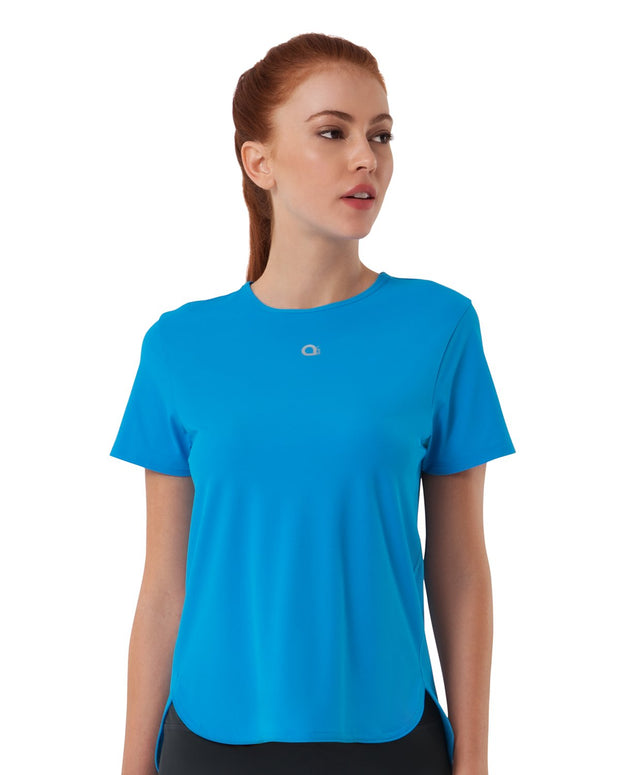 Smooth and Seamless Fitness T-shirt - Diva Blue Color