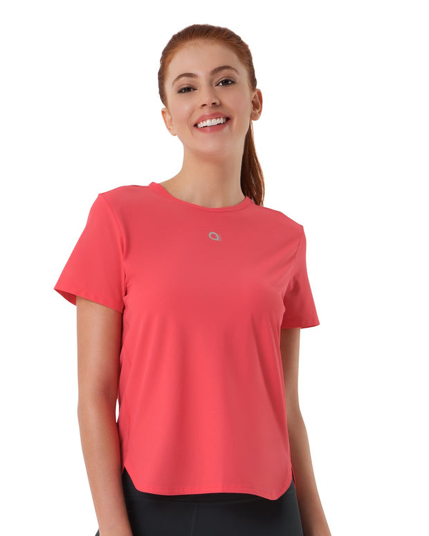 Smooth and Seamless Fitness T-shirt - Flamingo Pink Color