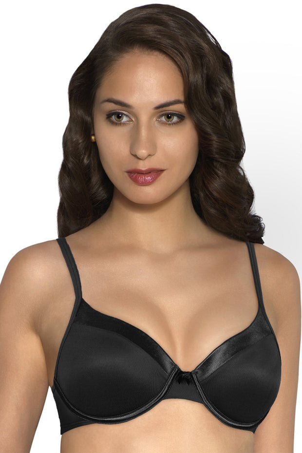 Satin Edge Padded Wired Bra - Black Color