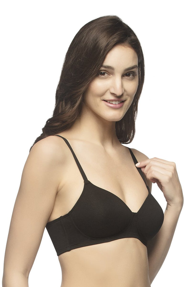 every dé Carefree Casuals Padded Non-Wired T-Shirt Bra - Black Color