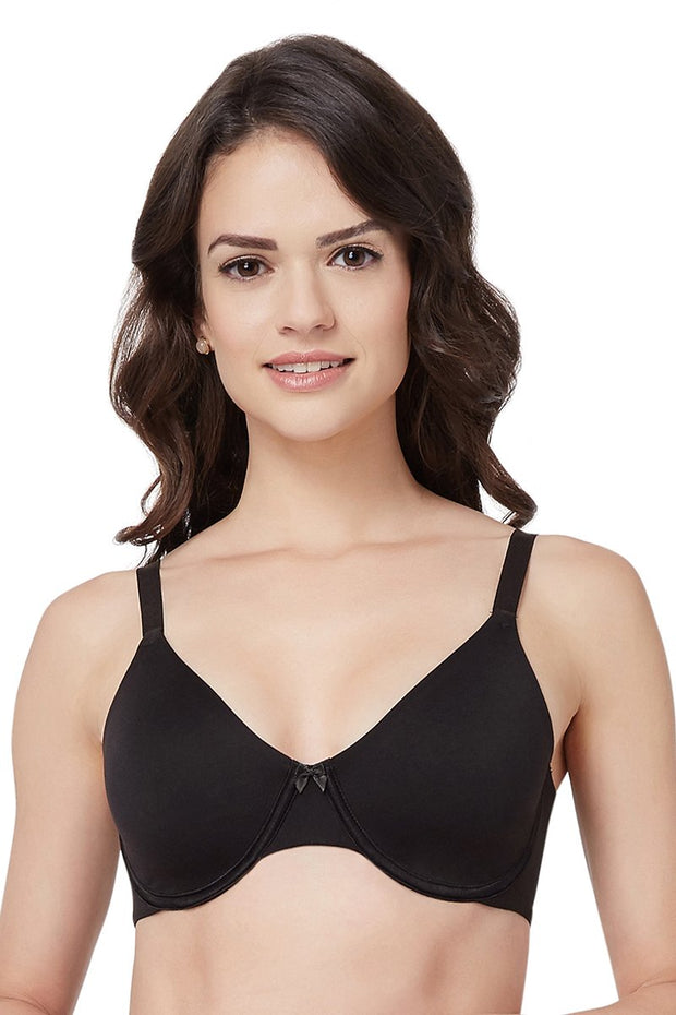 Curvy Support Minimiser Non Padded Wired Bra - Black Color