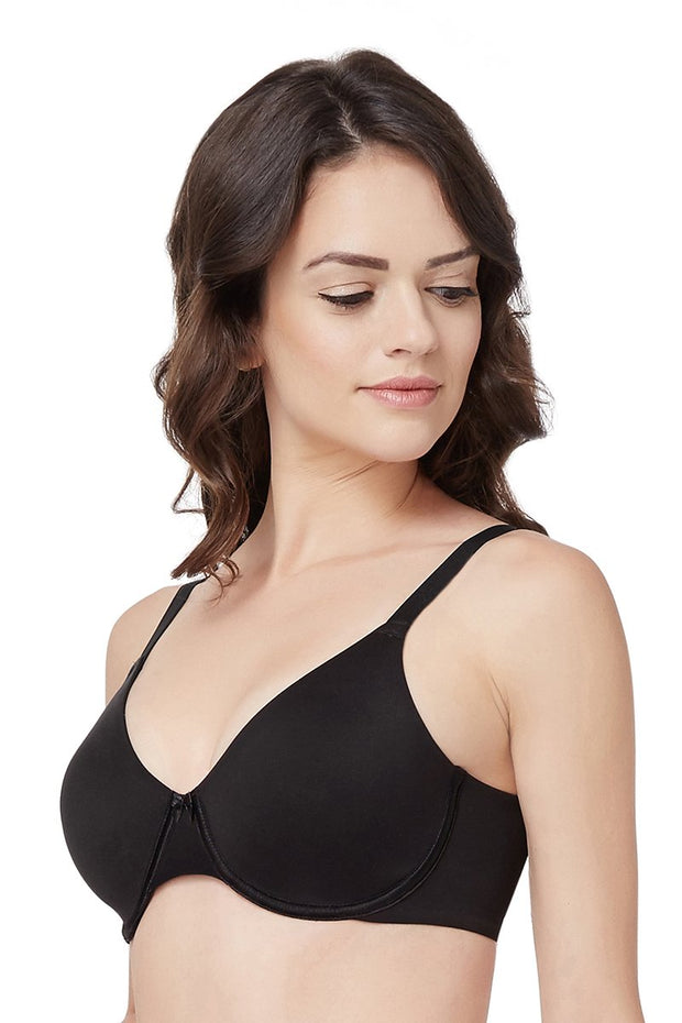 Black Curvy Support Minimiser Non Padded Wired Bra