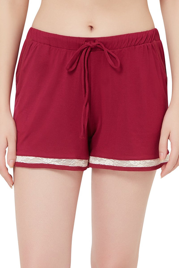 Sensuous Touch Shorts - Beet Red Color