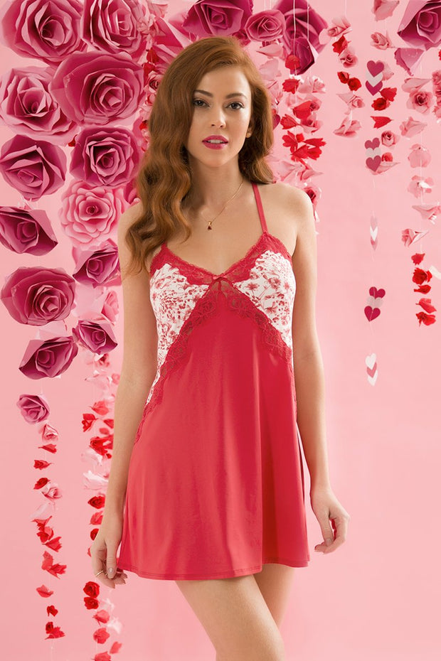 Lovestruck Triangle Cup Chemise - Tomato Puree Color