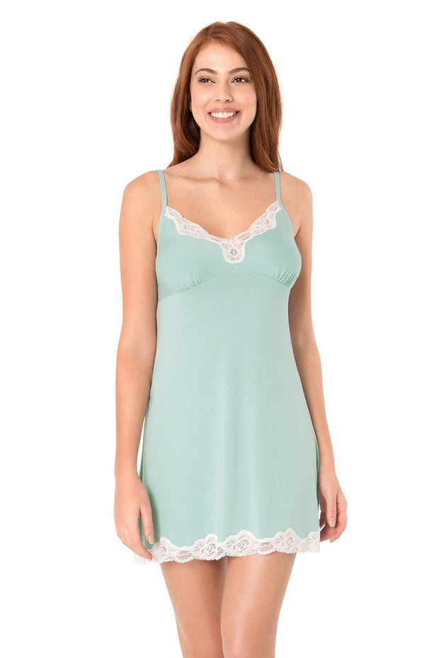 Lace Touch Sleep Chemise - Blue Haze Color