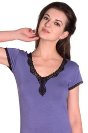Lace Cocoon Pyjama Top - Danube-Black Color