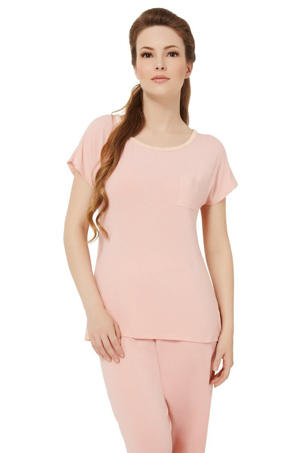 Sweet Interlude Sleep T-shirt - Light Coral Color