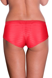 Coral Sheer Stripes Boy Shorts