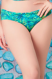 Side Ruched Swim Bottom - Tropical Palm Pr Color