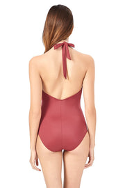 Dragon Red High Neck One Piece Swimwear