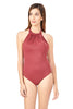 DRAGON RED | pink-high-neck-one-piece-swimwear