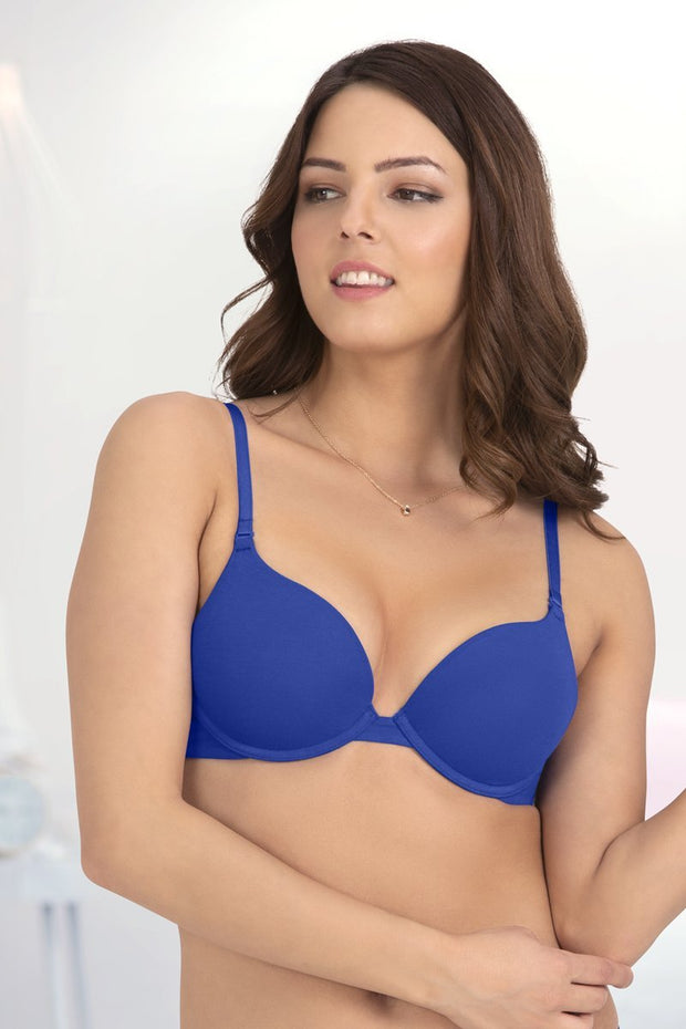 Everyday Cotton Push-up Bra - Royal Blue Color